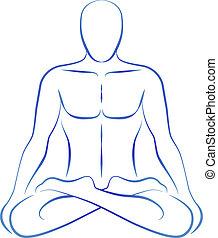 position, méditation, yoga