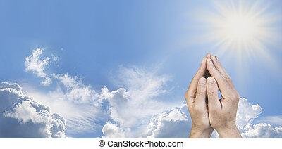 position, mains, prière, a entouré