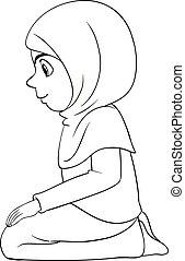 position, musulman, traditionnel, prier, séance, contour, girl, habillement, arabe