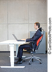 position, sitzen, korrekt, buero