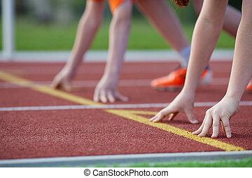 position, start, hände, rennbahn, knaben