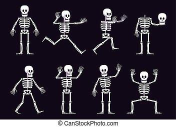 position, verschieden, halloween, skelett, karikatur