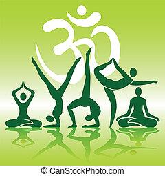 positionen, silhouetten, joga