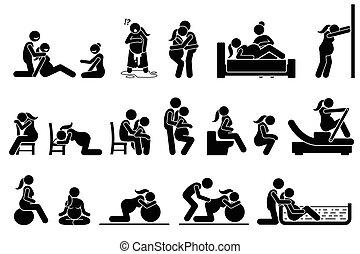 positions, attitudes, home., accouchement, main-d'œuvre
