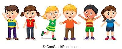 positions, différent, vecteur, enfants, illustration
