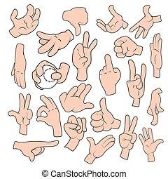 positions, gestes, ensemble, différent, main, dessin animé