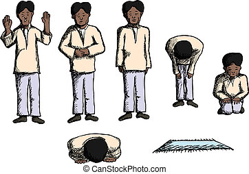 Positions of Prayer - Man in different prayer positions with...