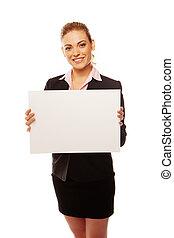 positiv, affärsverksamhet kvinna, holdingen, vita planka