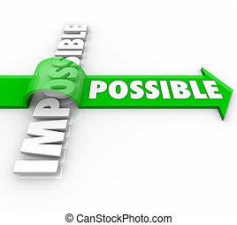 positiv, aus, möglich, haltung, springende , pfeil, unmöglich