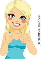 positiv, blonde, kvinde, tommelfingre oppe