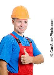 positiv, byggmästare, arbetare, isolerat