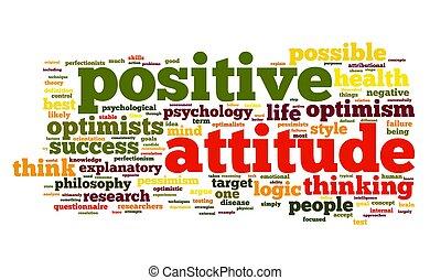 positiv holdning, begreb, etiketten, sky