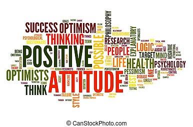 positiv holdning, begreb, ind, etiketten, sky
