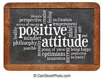 positiv holdning, begreb, på, sort vægtavle