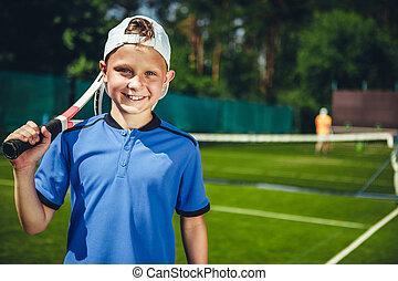 positiv, junge, beibehaltung, racquet, in, arme