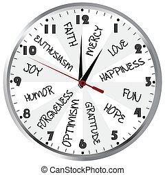 positiv, klocka, kännanden