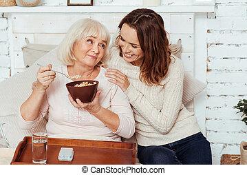 positiv, kvinna, ha, äldre, breakfast.