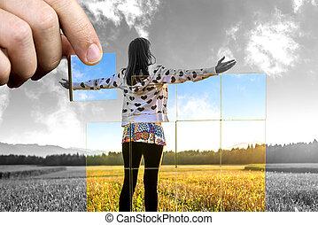 positiv, liv, perspektiv