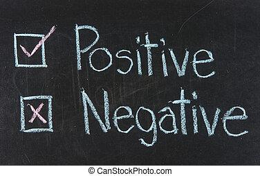 positiv, -, negativ, oder, kreide zeichnen