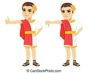 positiv, romersk, caesar, nekande, tumme