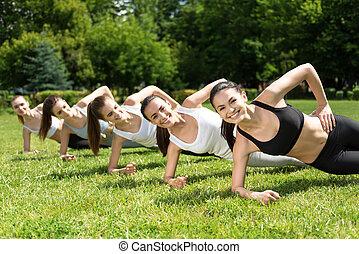positiv, sport., gå, kvinnor