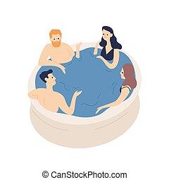 positiv, vänner, rekreation, fritid, vektor, avkopplande, communication., slå samman, simning, begrepp, le, lägenhet, vit, bubbelpool, grupp, illustration., tecknad film, folk, isolerat, bakgrund.