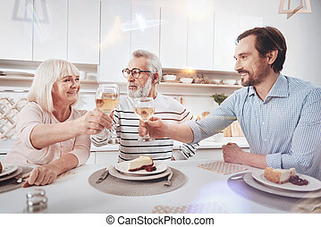 Positive adult man meeting with his aged parents at home