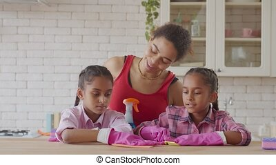 Positive african family doing spring cleaning together - ...