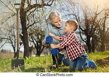 Positive aged man planting a tree with his little grandson