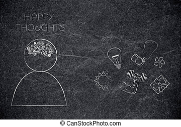 person with gearwheel mind and happy thoughts next to dream-themed icons