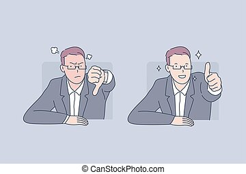 Positive and negative emotion, failure and success, bad and good mood concept. Male office worker keeping thumb down and up, anger and joy, problem and solution. Simple flat vector