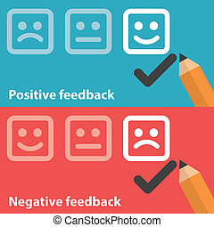 Vector illustration of positive and negative feedback concept. Minimal and flat design