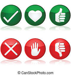 Icon set with different positive and negative options for interaction buttons