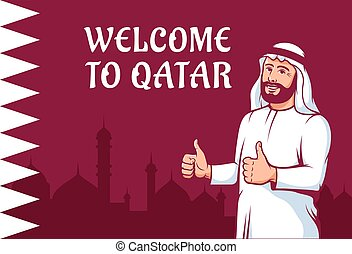Positive Arab man thumbs up on Qatar flag background. ...