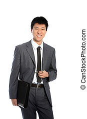 Positive asian businessman isolated on white