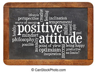 positive attitude concept - a word cloud on a vintage blackboard isolated on white