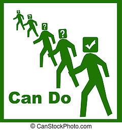 positive attitude illustration - can do attitude green men...