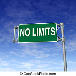 Positive attitude represented by a green outdoor no limits highway sign as a symbol of determination in business success and a concept for setting goals for financial opportunity on a clear blue sky.