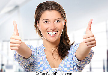 Positive attitude - A portrait of a young positive woman...