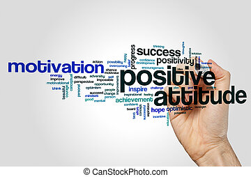 Positive attitude word cloud concept on grey background