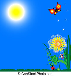 blue sky with bright sunshine, green grass, flower, clover, ladybug and two butterflies, feathers, positively and joyfully