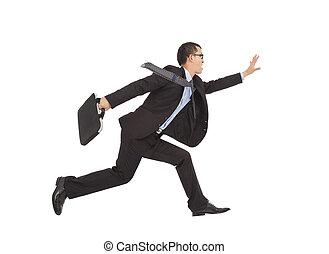 positive businessman running to catch goal