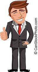 Positive cartoon Businessman thumb up