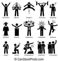 Positive personalities traits, attitude, and characteristic. Enthusiasm, efficient, energetic, endurance, easy-going, educated, eloquent, enterprising, enlightened, exuberant, elegant, earnest, entrepreneurial, empathetic, and encouraging.