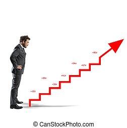 Positive company statistics - Businessman with positive ...