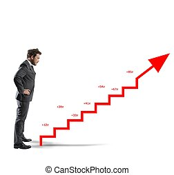 Positive company statistics - Businessman with positive...