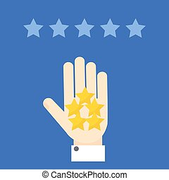 Positive customer review - Positive review. Hand showing ...