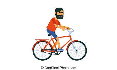 Positive cyclist rides a bike. Flat cartoon character. ...
