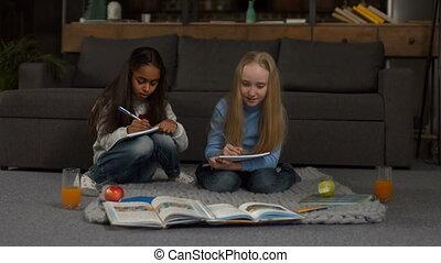 Positive diverse girls doing homework together