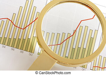 A magnifying glass focusing on a positive earning chart. (focus on the centre of the magnifying glass)